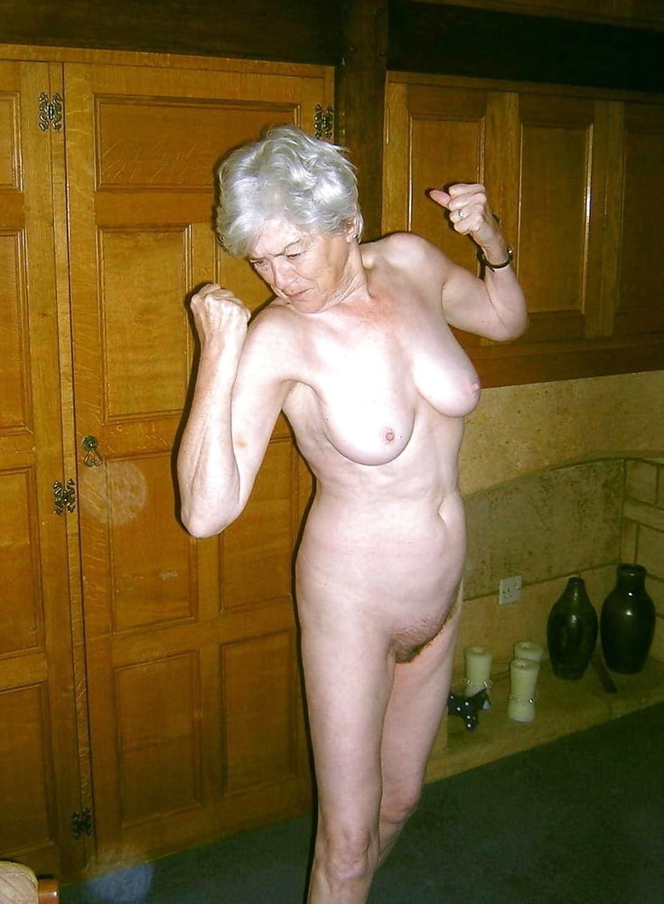 Naked old lady fights