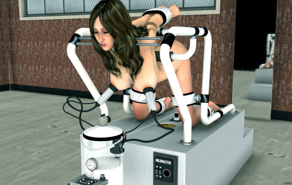 Helpless milking of a bdsm slave hanged above the draining machine