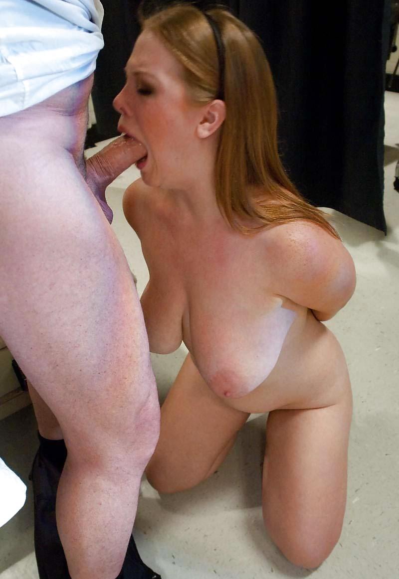 Pretty woman enjoys deepthroat blowjob