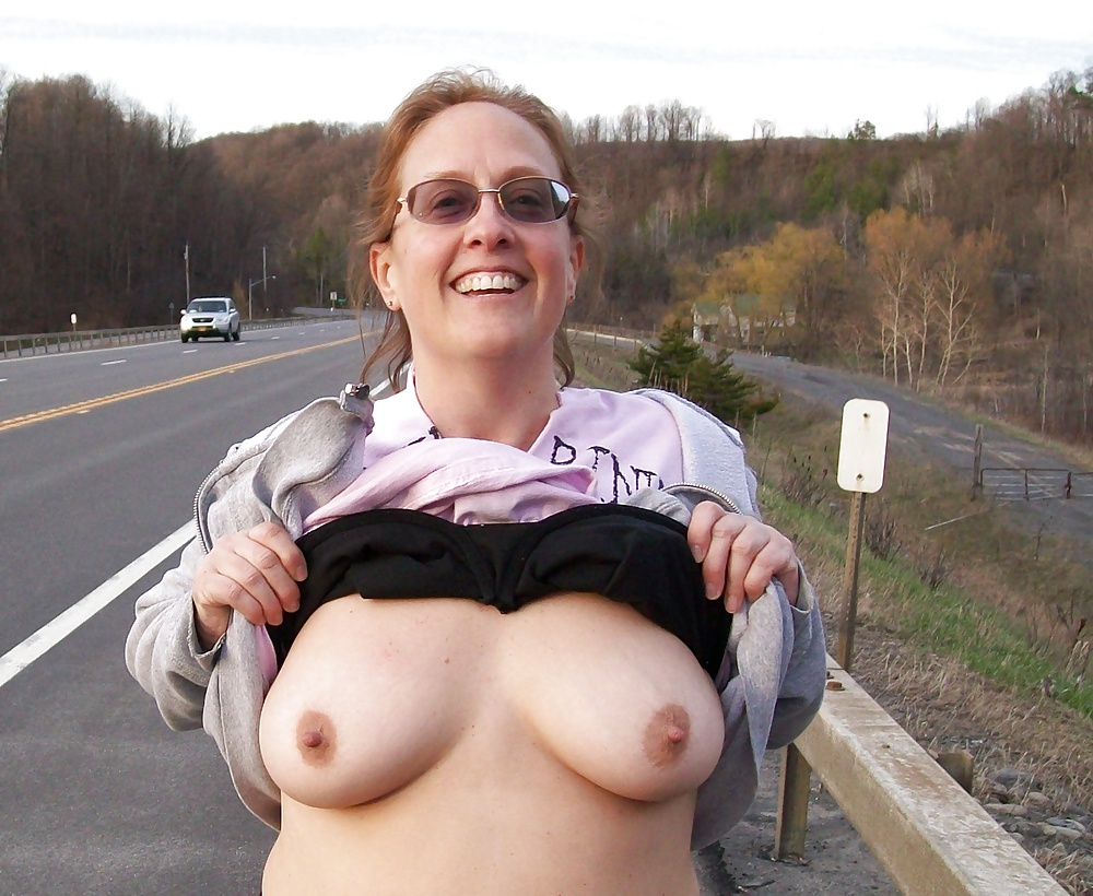 Women flashing their breasts