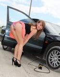 Bending over in car