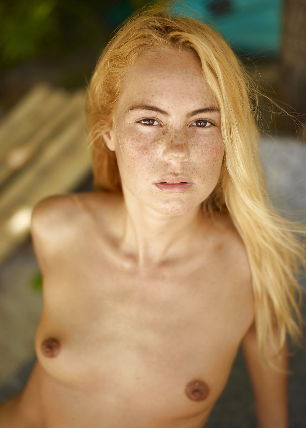 Babe blonde freckles nude