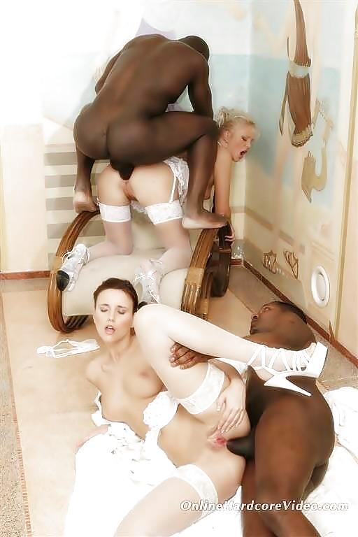 русский групповой секс с невестой с негром