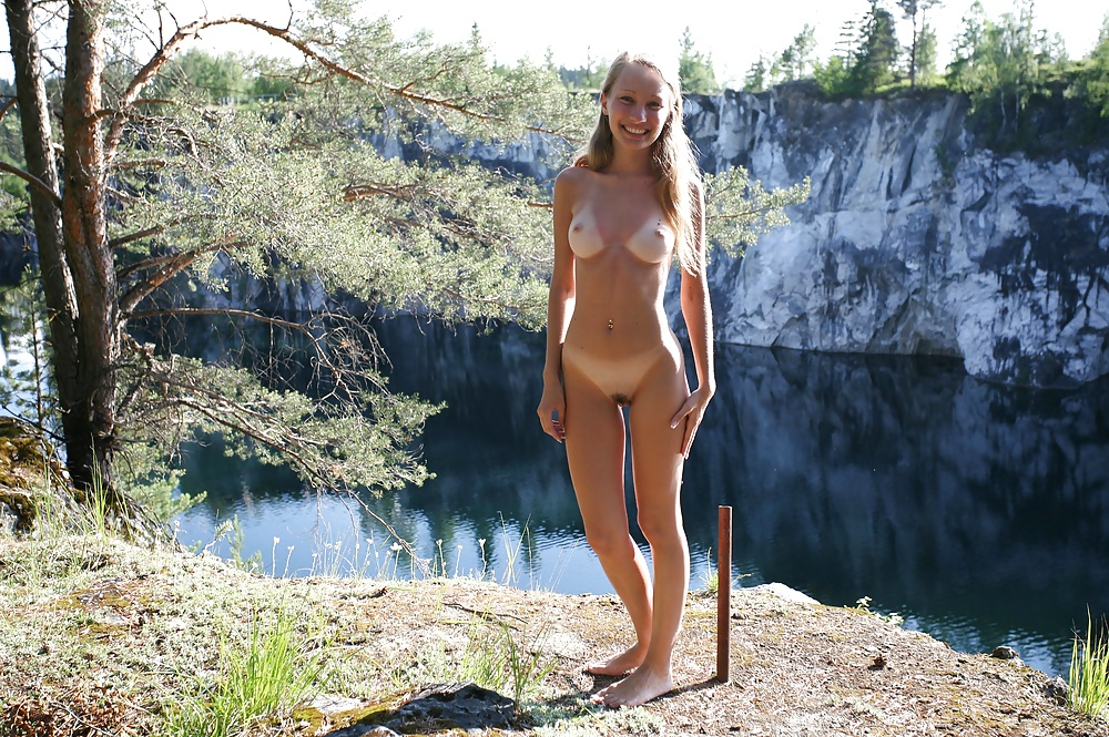 Naked blonde camping ate