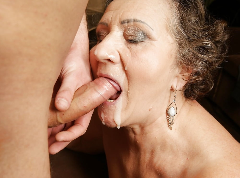 Older woman enjoys sucking