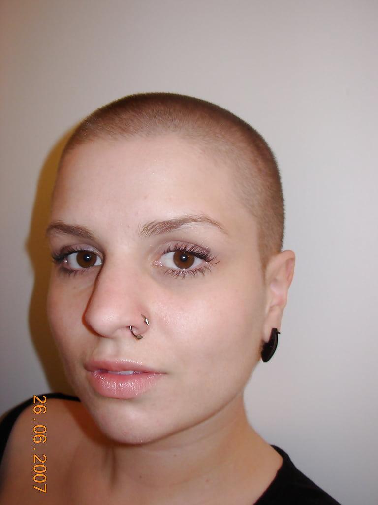 Bald woman shaved head