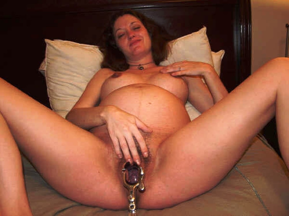 Pregnant Playing With Dildo