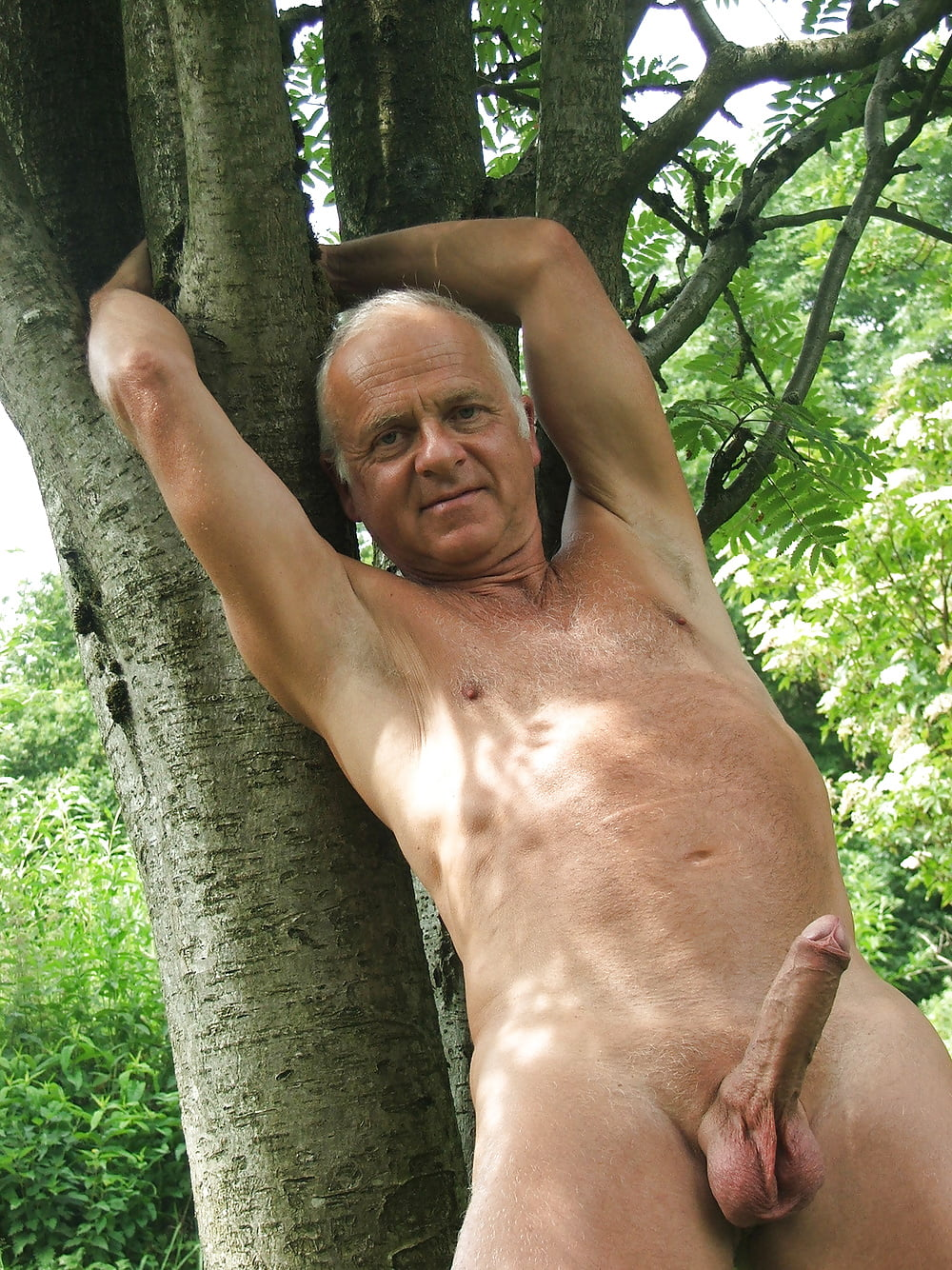 Rough Older Guy Strips Naked And Tugs On His Big Hard Cock