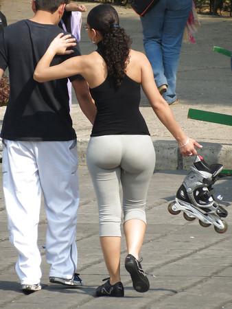 Mature in yoga pants