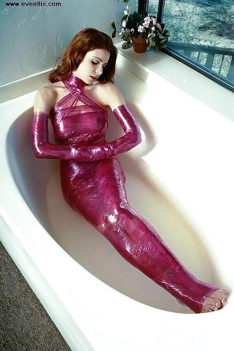 Naked and wrapped in plastic wrap