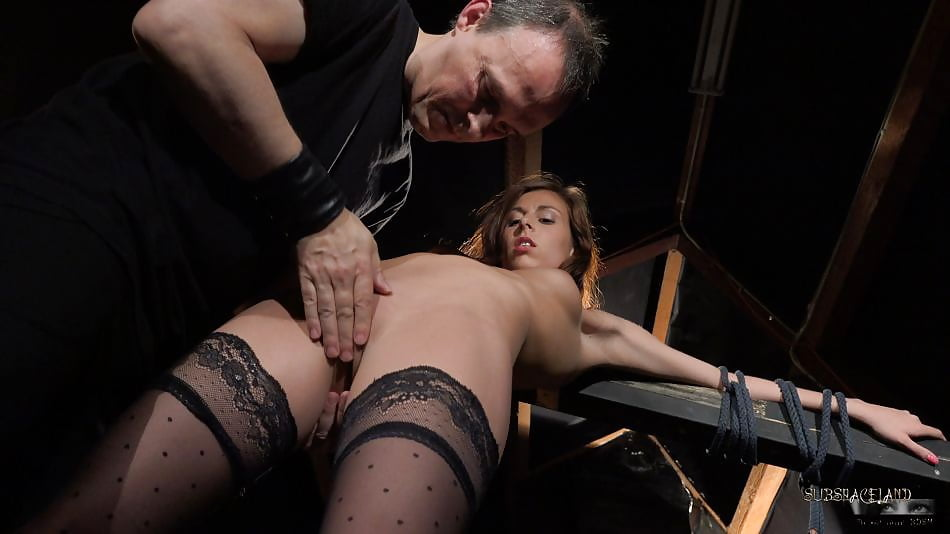 Slave fingered and toyed squirts in bondage
