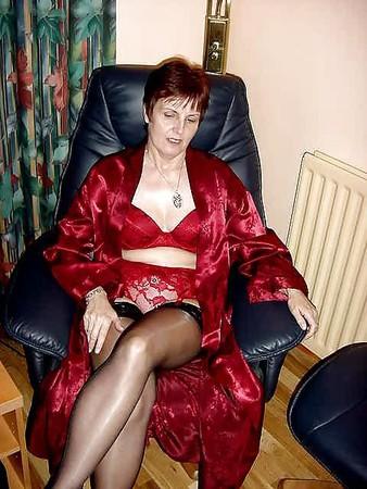 Hot  slut granny in red