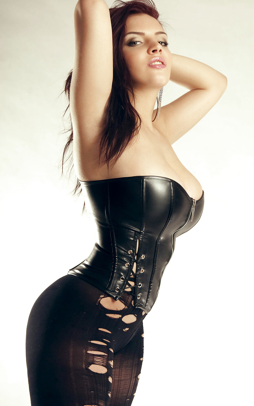 Black corset with huge tits #8