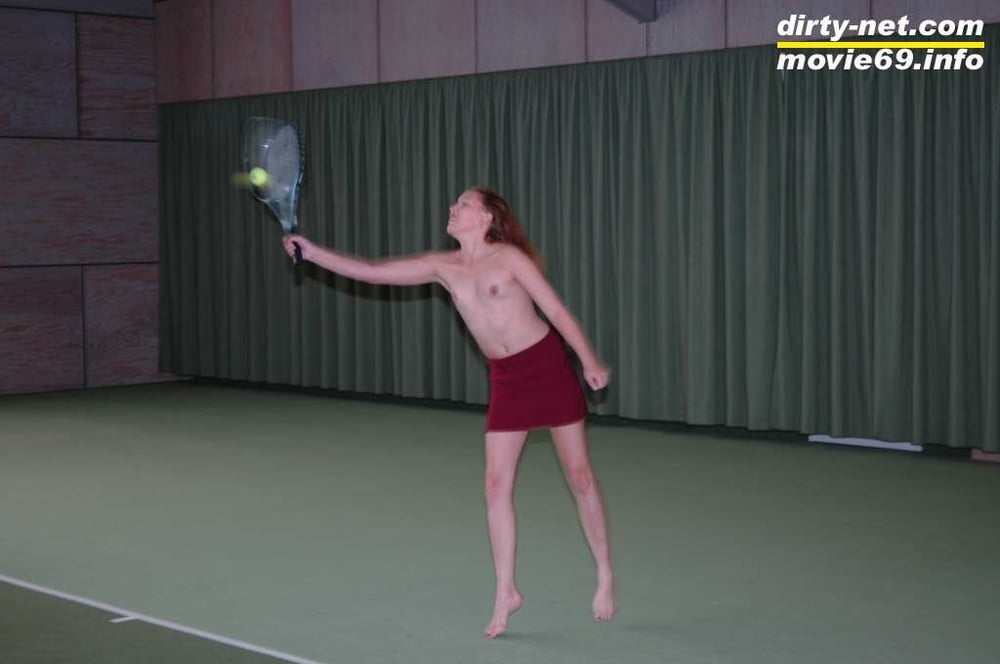 Nathalie plays naked tennis in a tennis hall - 70 Pics