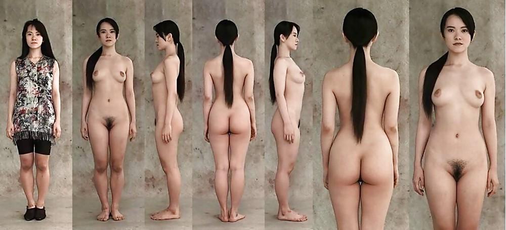 Naked black haired girl