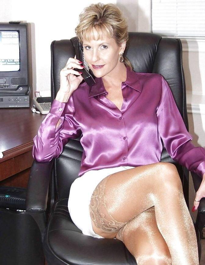 Sexy Mature Woman Black Dress Stock Photo