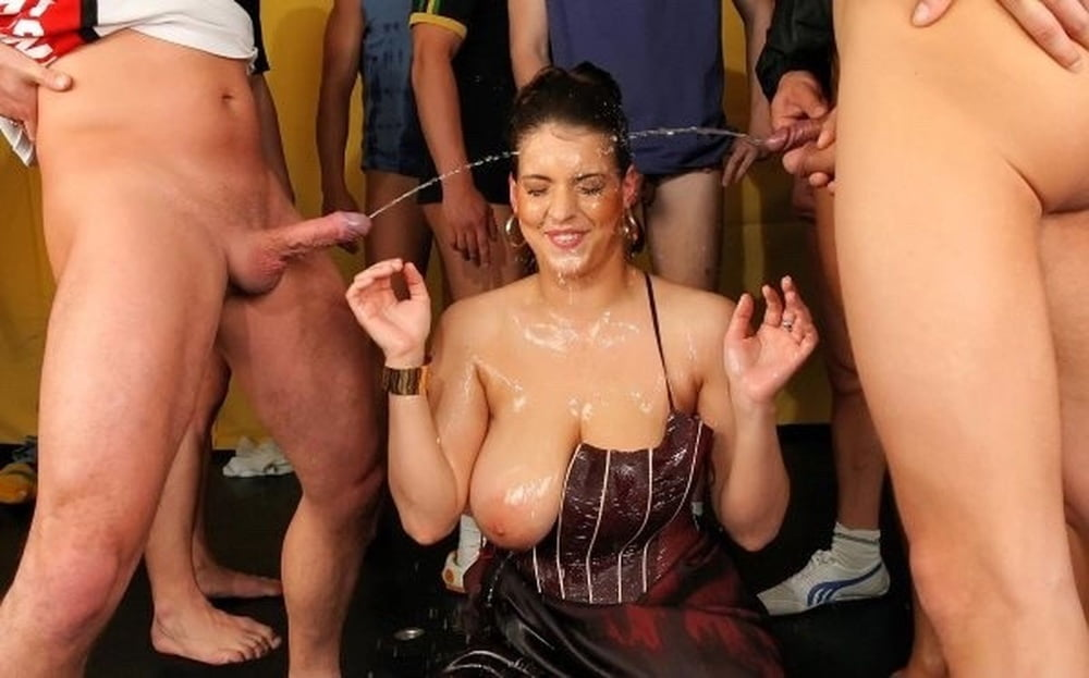 Piss and cum gangbang porn fucking her piss filled ass