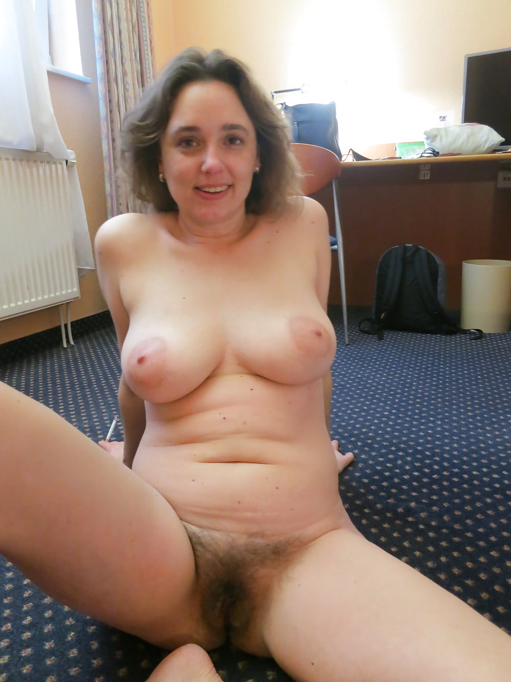 Natural hairy nude wife