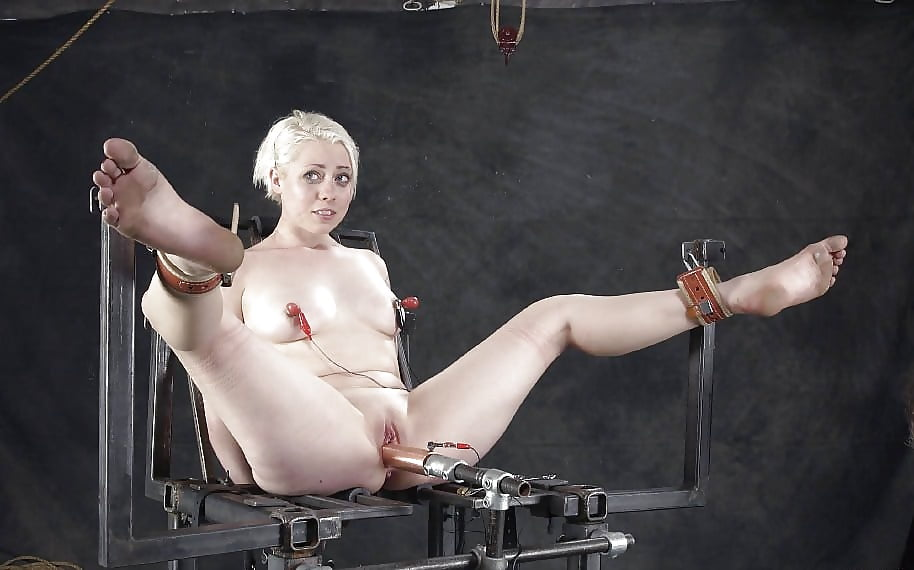 Torture electricity metal dildo, shaved stretched pussy free video