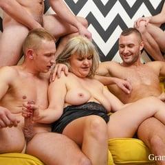 Granny's First GangBang At GrandMams
