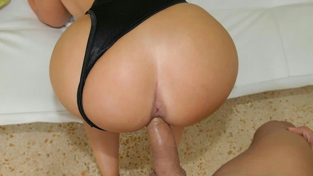Slutty milf gets fucked with her thongs on and jizzed over her ass