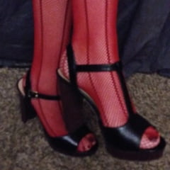 Erotic See and Save As red fishnets and black heels          porn pict sex album thumbnail