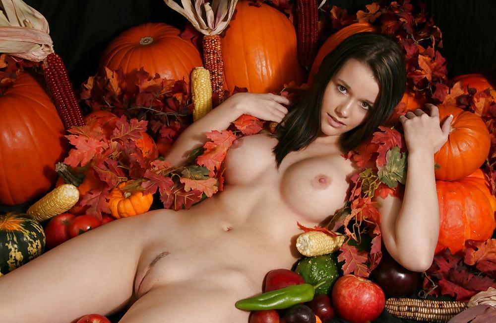 Girls cum with fruit