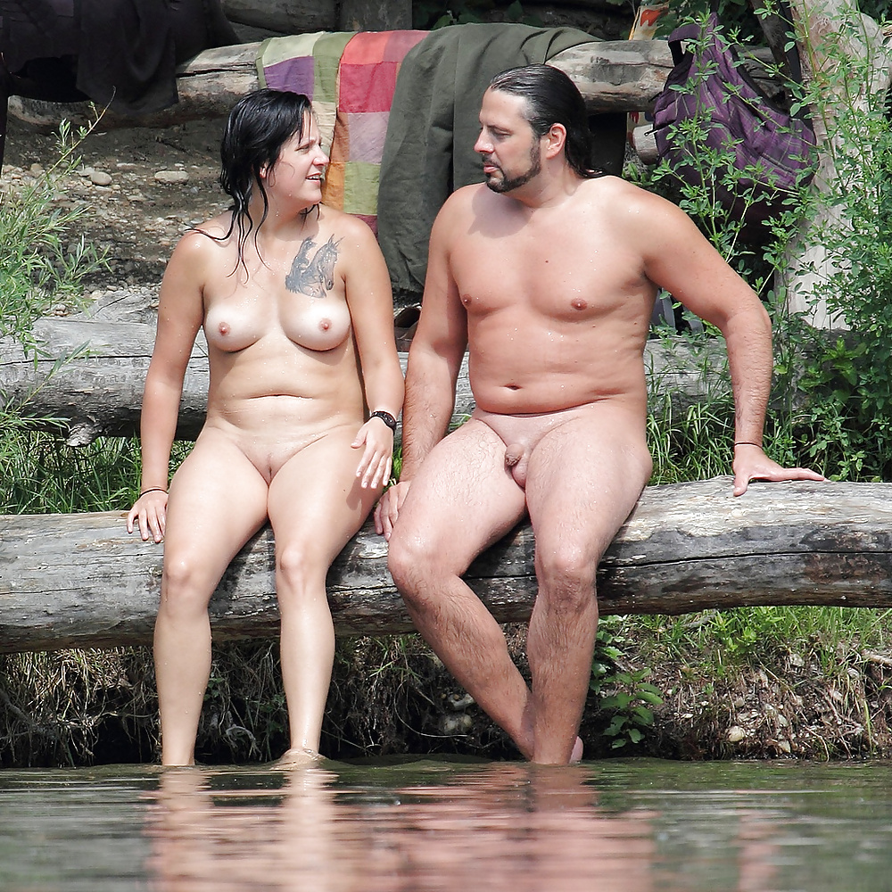 Mature nude couples outdoors