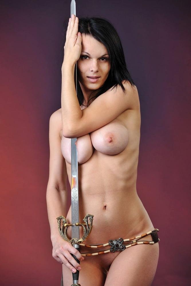 Girl naked girl with sword in preschool