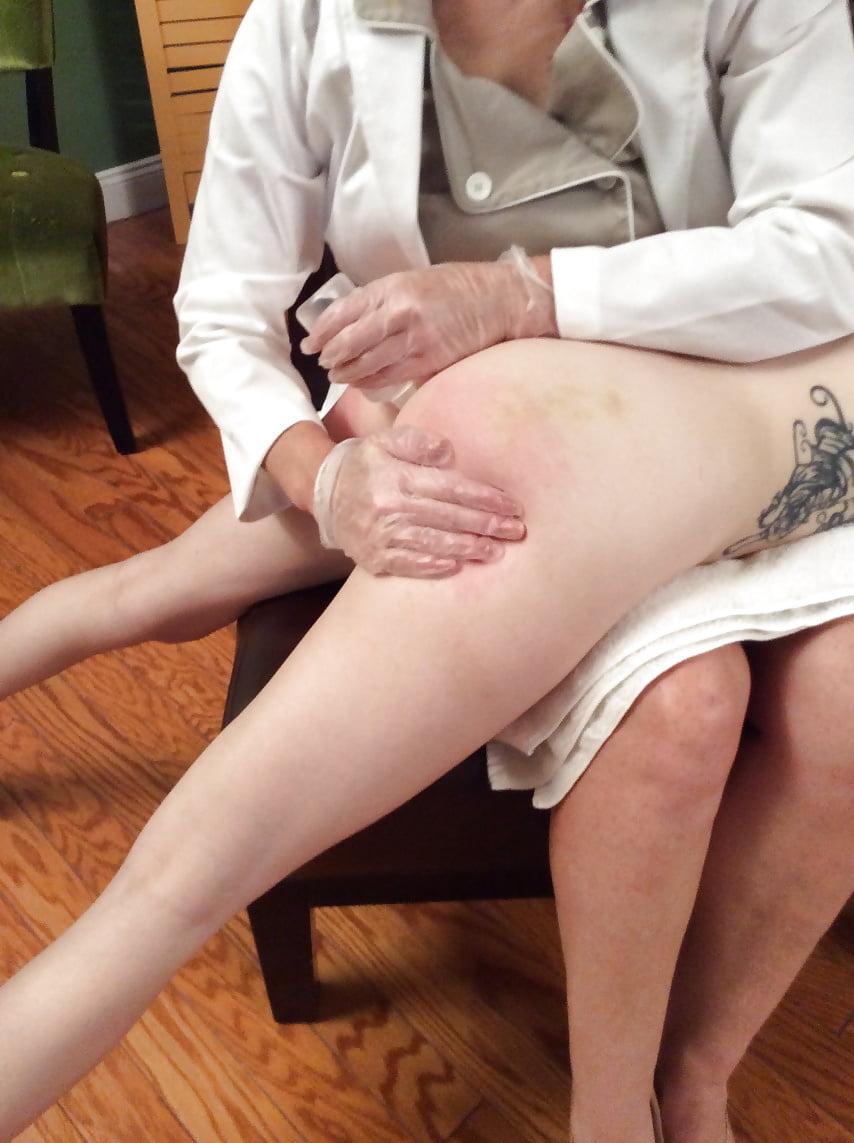 Female daddy exam spank enema and hairy