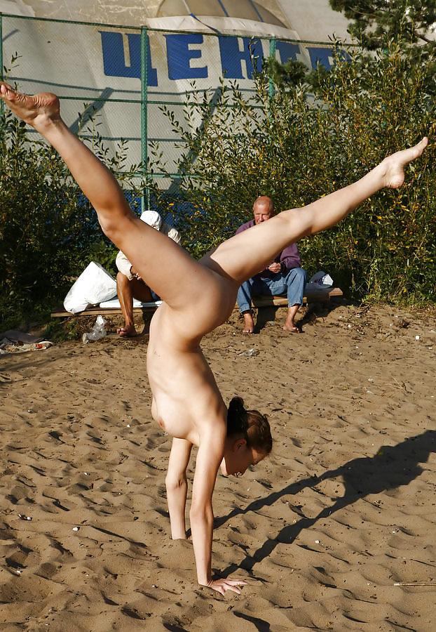 Nude flexible girl and nudist, making love nude gif