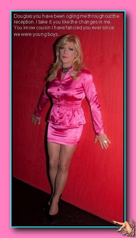 Трансвеститы в цветастых атласных платьях