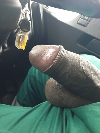 my thick cock out in my truck sent pic to my gf