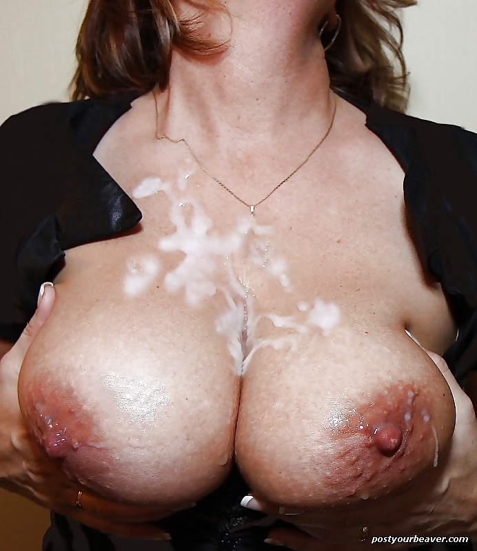 Massive messy cumshot all over her waiting big tits amp body