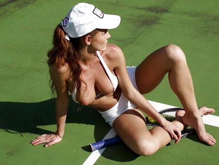 Nude Girl Playing Tennis