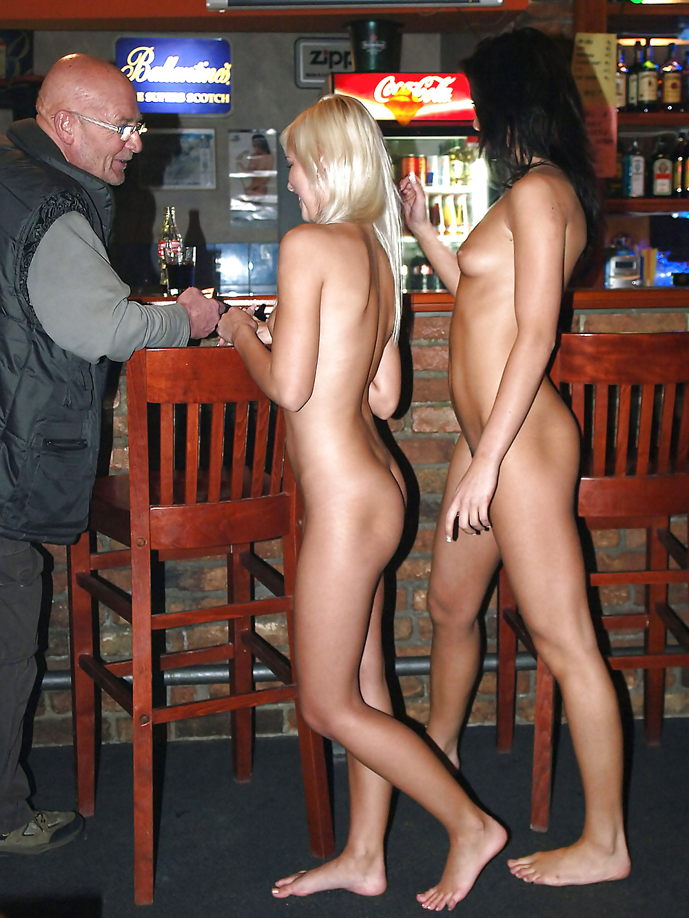 Sunset butt naked in pub