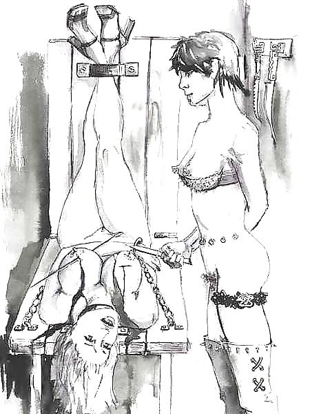 Female domination bondage drawings