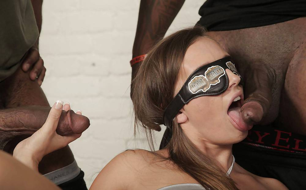 Blindfolded Slut Didn't Know She Is About To Suck A Black Man's Dick
