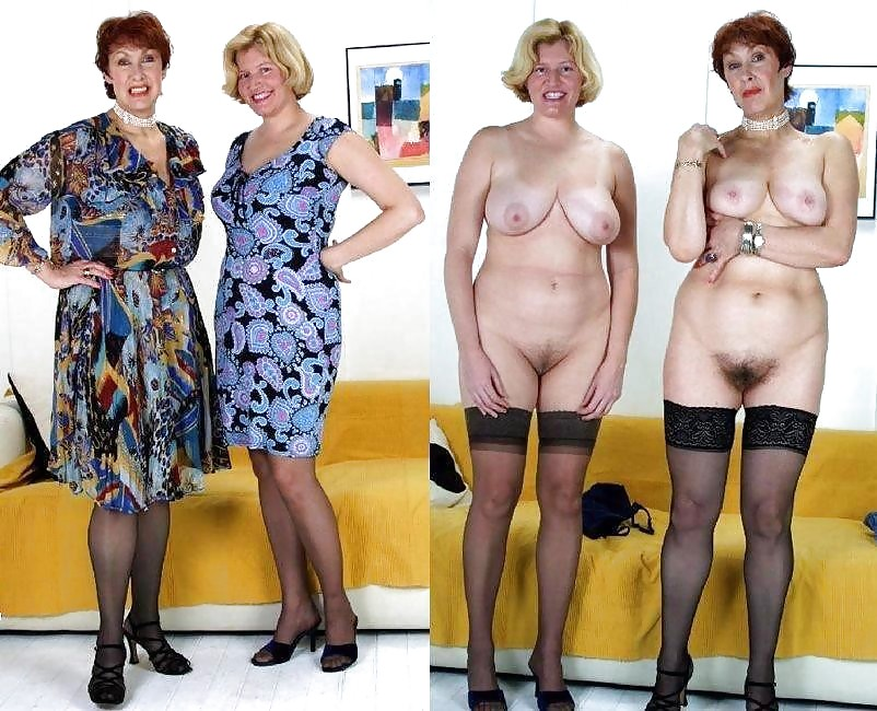 Dressed undressed hairy women