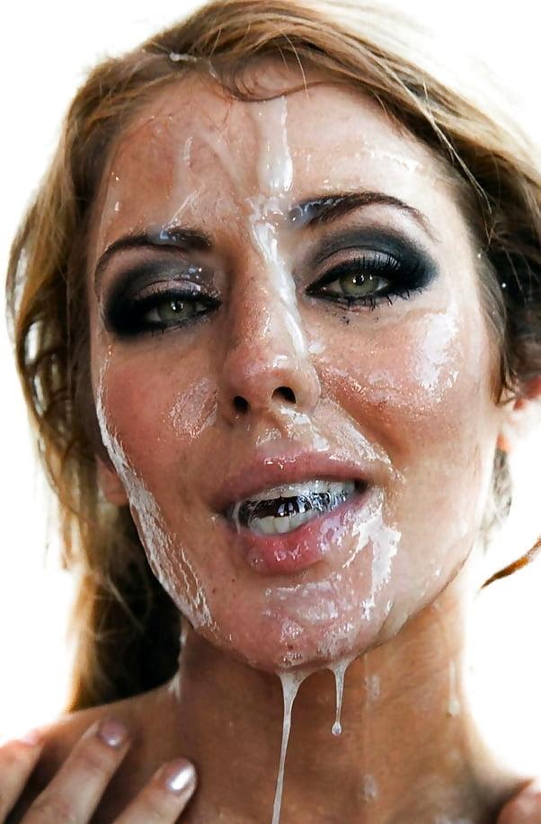 Много спермы на лице зрелых женщин