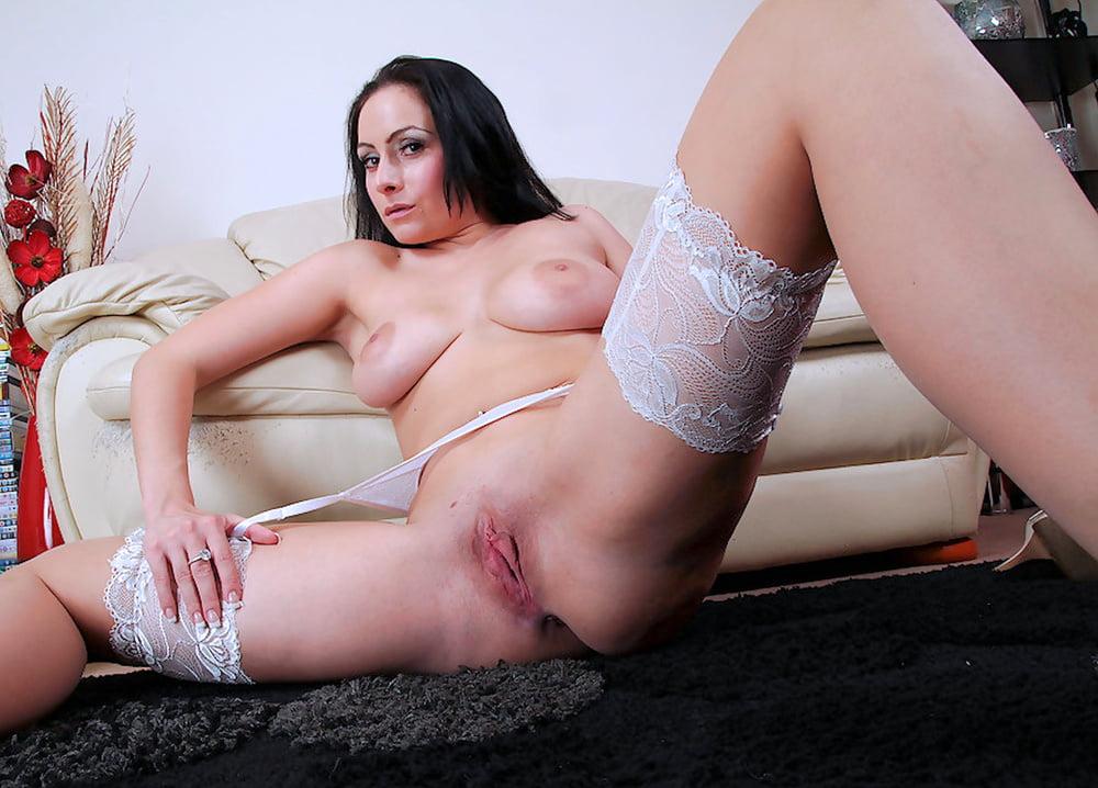 Mom in white stockings porn #1