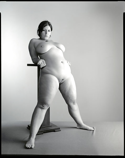 Vintage style picture overweight naked woman stock photo