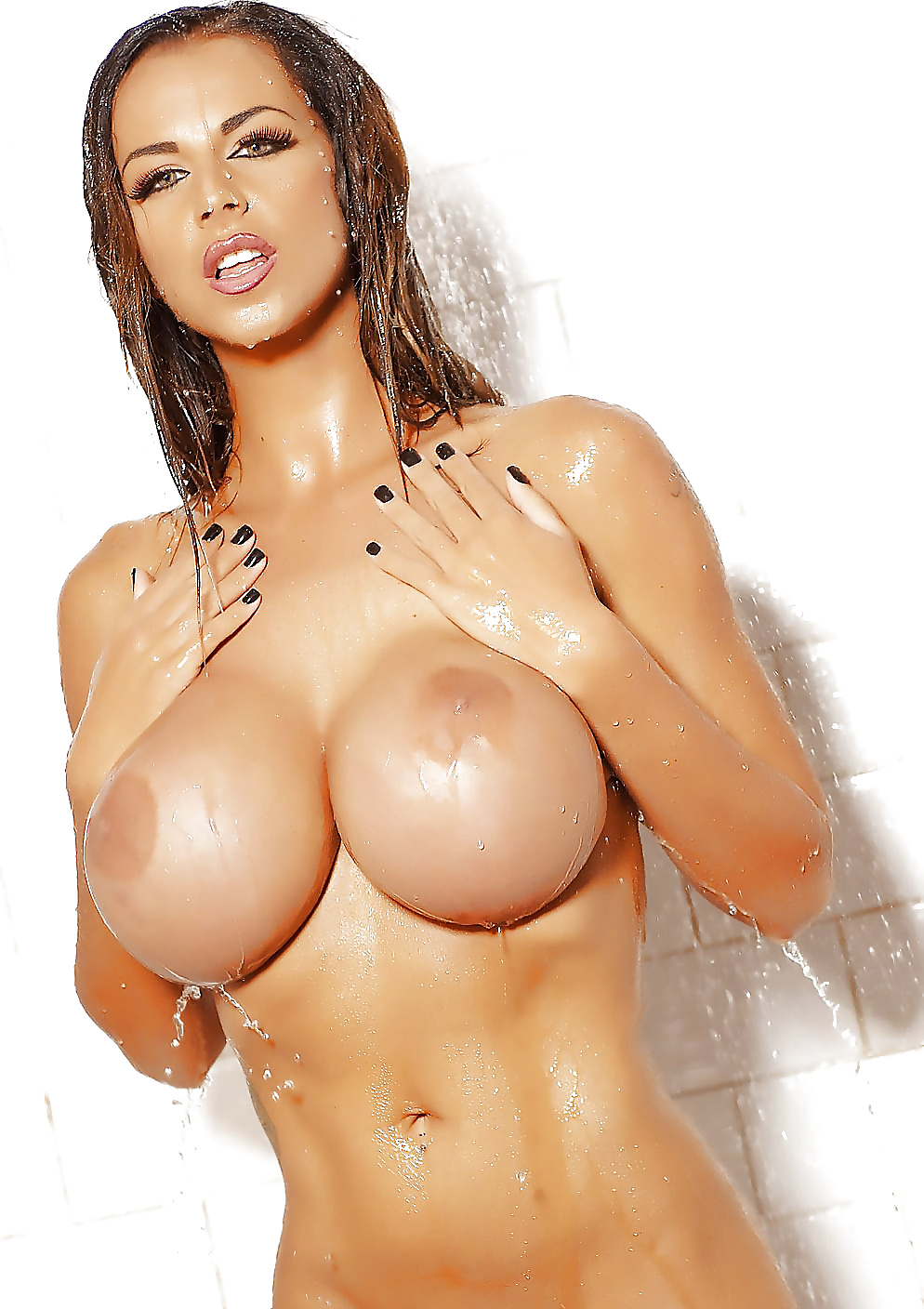 hot-naked-brunette-fake-tits