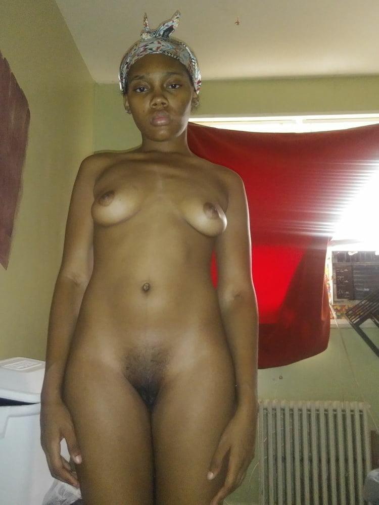 Ebony amateur cuties standing half nake or nude