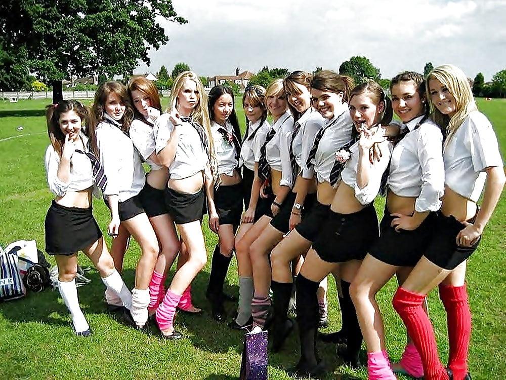 College cheerleaders bare breast