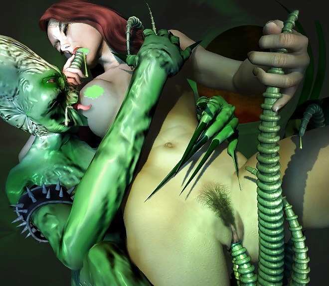 Gwen not only got into some bondage she also got some green alien tentacle in her pussy