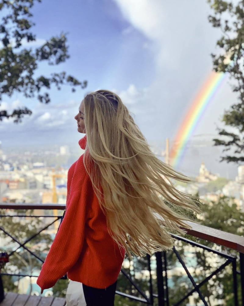 Beautiful girl cut her long long hair
