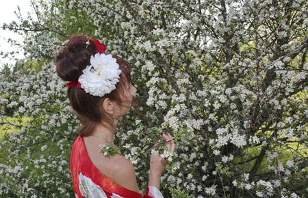 white flowers red dress
