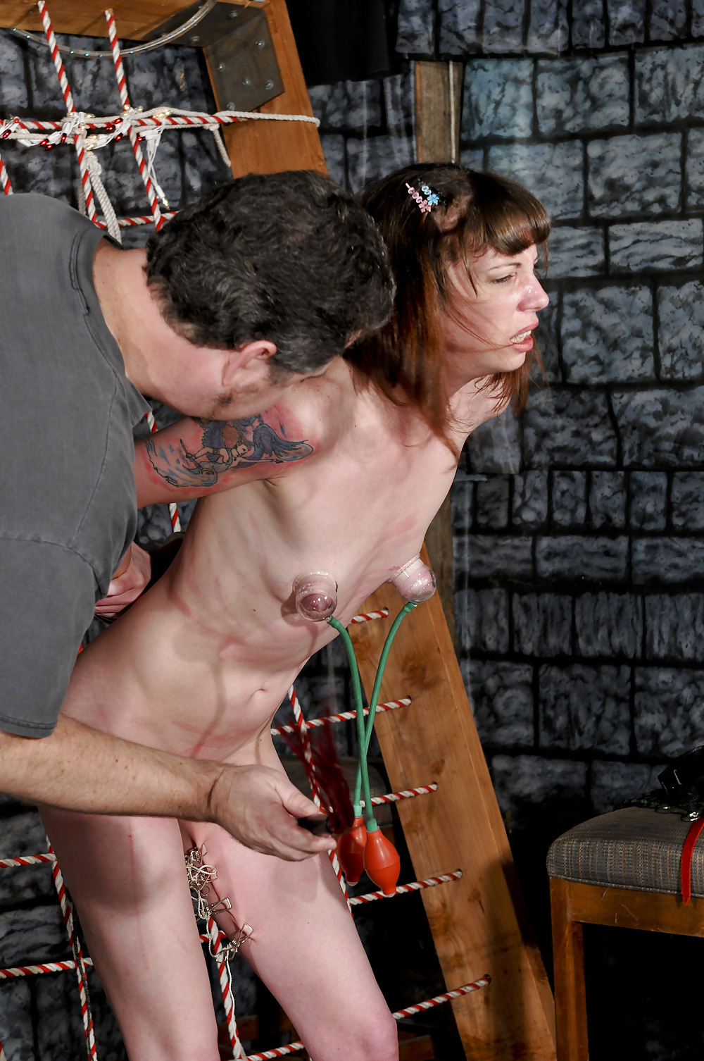 Nude Asian Women Whipping Slave