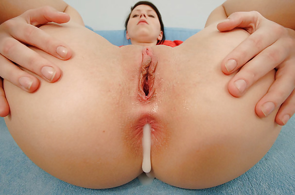 Girl gaping ass cum